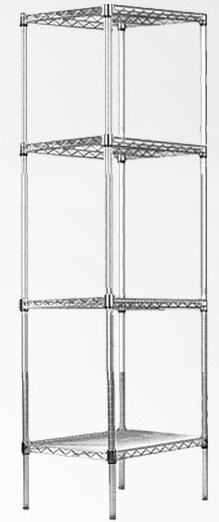 Modular Chrome Wire Storage Shelf 450 x 450 x 1800 Steel Shelving