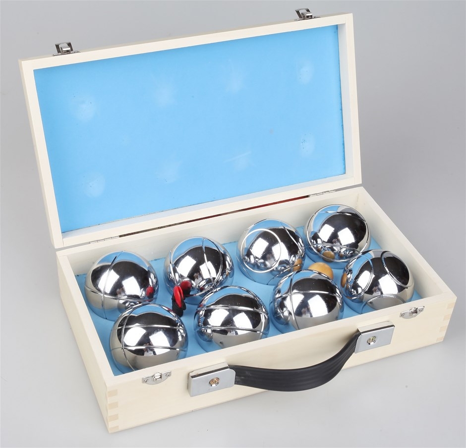 Deluxe Boules Bocce 8 Alloy Ball Set with Wooden Case