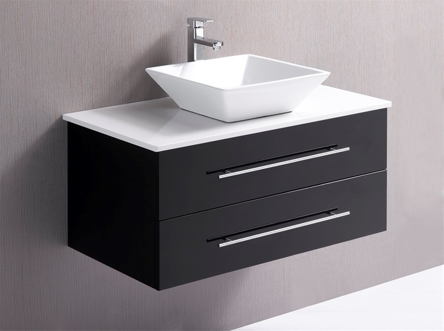 Buy 900mm Wall Hung Vanity Unit With Stone Top, Basin - Della ...