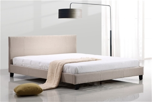 King Linen Fabric Bed Frame - Beige