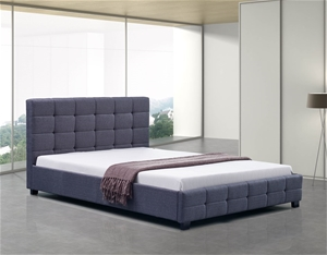 Linen Fabric Double Deluxe Bed Frame Gre