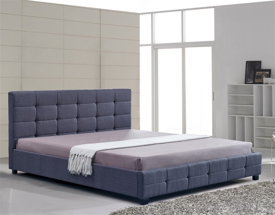 Linen Fabric King Deluxe Bed Frame Grey