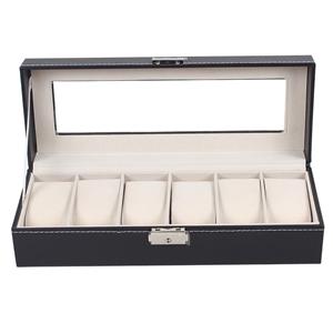 6 Slot Mens Watch Display Case Box Black