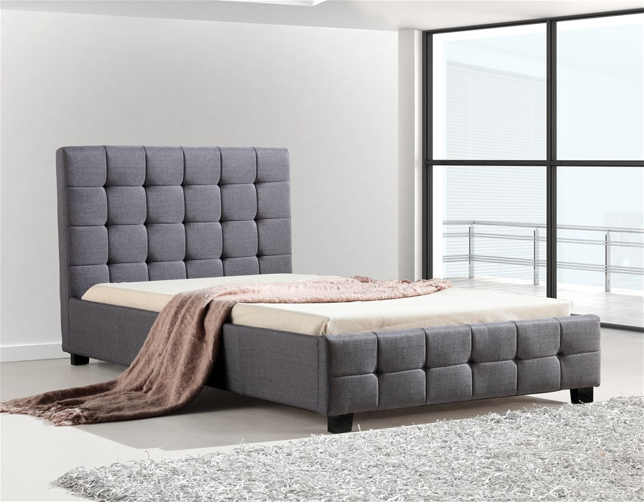King Single Linen Fabric Deluxe Bed Frame Grey