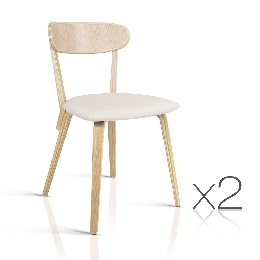 Artiss Set of 2 Wooden Dining Chairs - Beige