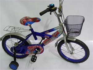 Kids Spiderman Bicycle 16ins With Training Wheels Front Back