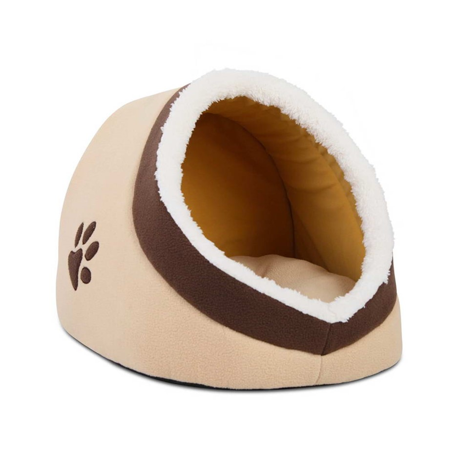 i.Pet Soft Fleece Igloo Pet Bed - Beige