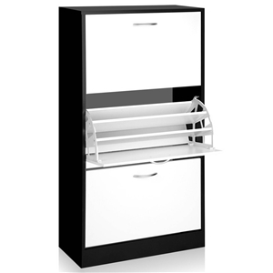 Artiss 3 Tier Shoe Cabinet - Black & Whi