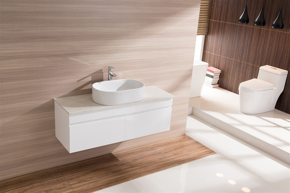 Bathroom Vanity 1200 White Wall Hung Narrow Ceramic Basin Stonecheap bathroom vanities   16 products   Graysonline. Bathroom And Kitchen Auctions Melbourne. Home Design Ideas