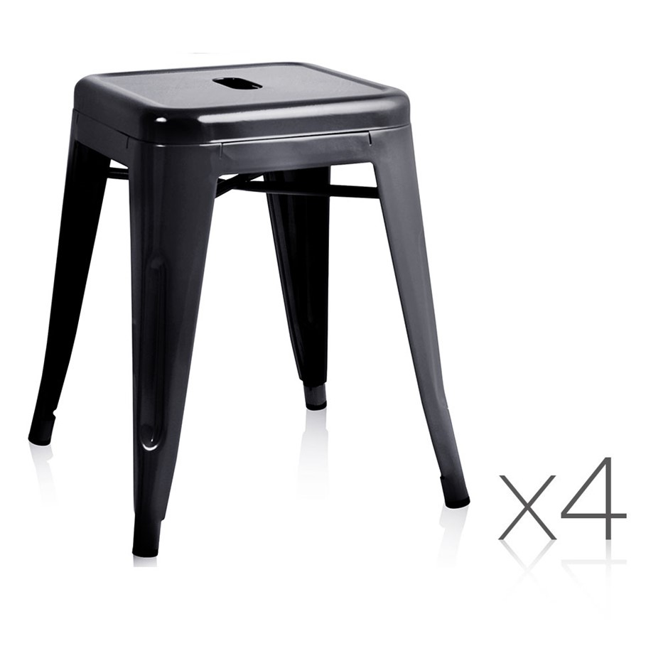 Artiss Set of 4 Metal Backless Bar Stools - Black