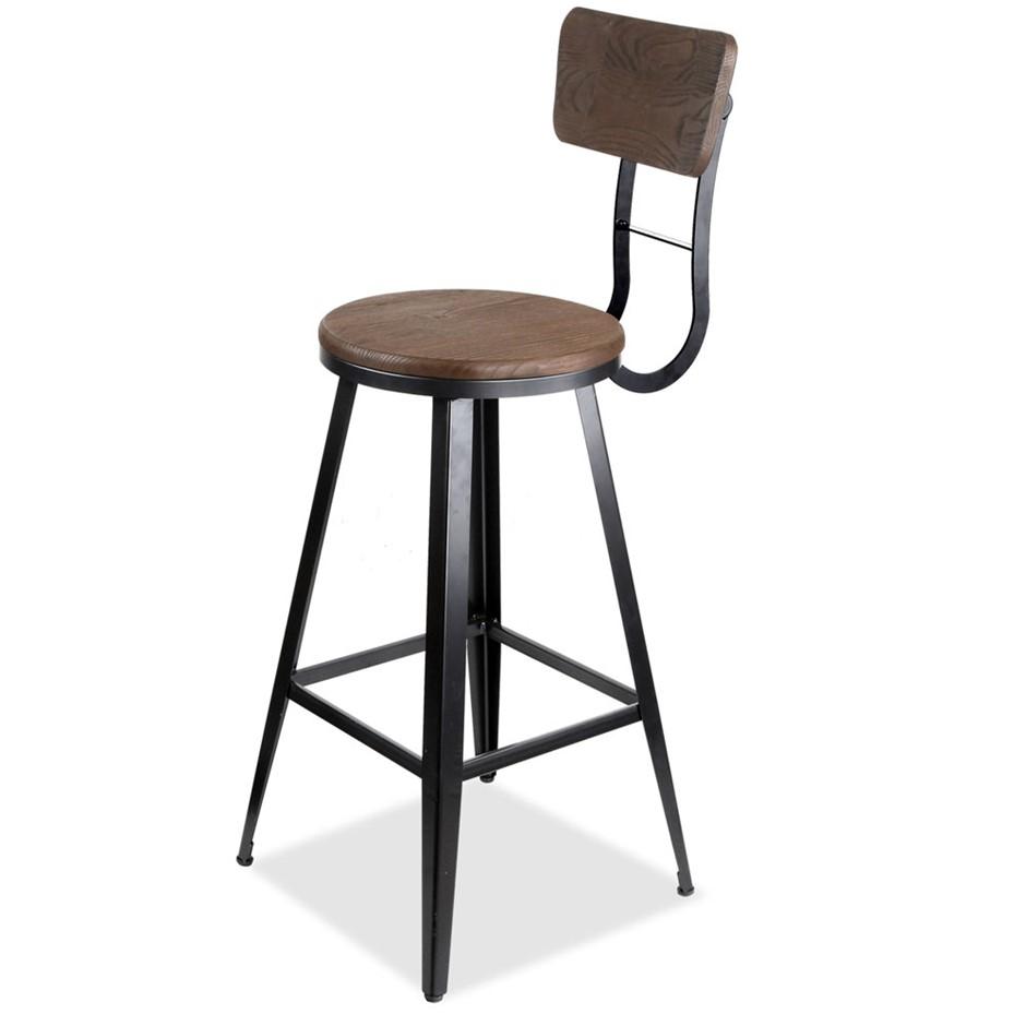 Industrial Bar Stools with Backrest   76cm. home starter furniture packages   Graysonline