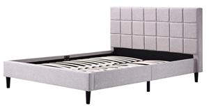Queen Linen Fabric Deluxe Bed Frame Beig