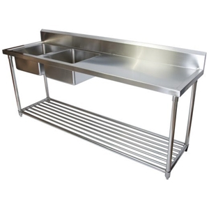 Commercial Sinks Australia : Stainless Steel Commercial Double Sink & Bench Kitchen Auction (0002 ...