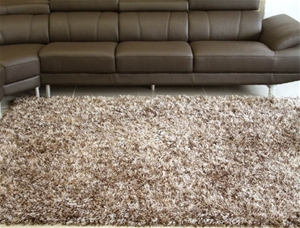 Metallic Thick Thin Shag Rug Brown And Beige 280x190cm