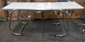 Medical bed metal frame, white leatheret
