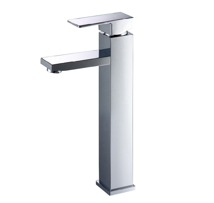 Square Chrome Counter Top/Above Basin Mixer Tap Tall Faucet