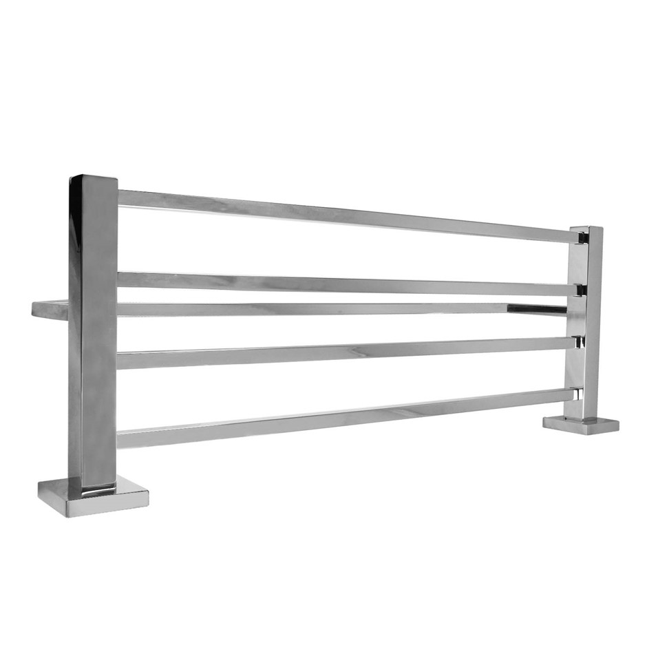 Square Chrome 304 Stainless Steel Towel Holder with Rail Shelf 600mm