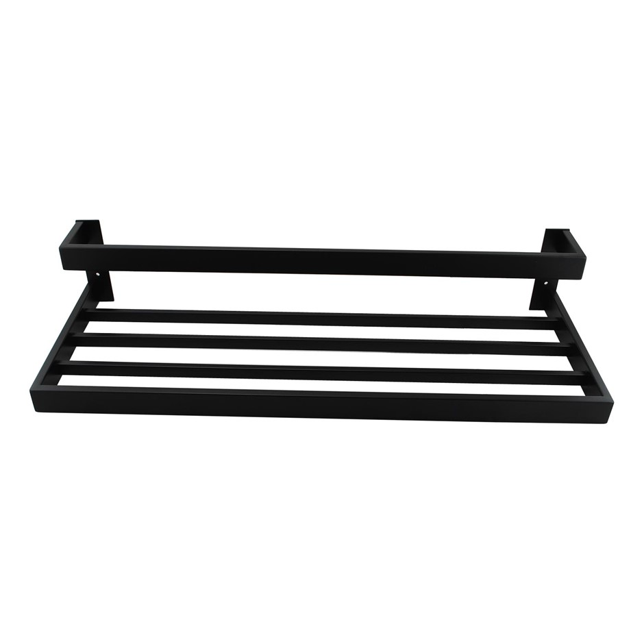 Square Matt Black 304 Stainless Steel Double Towel Holder Rack Rail 600mm