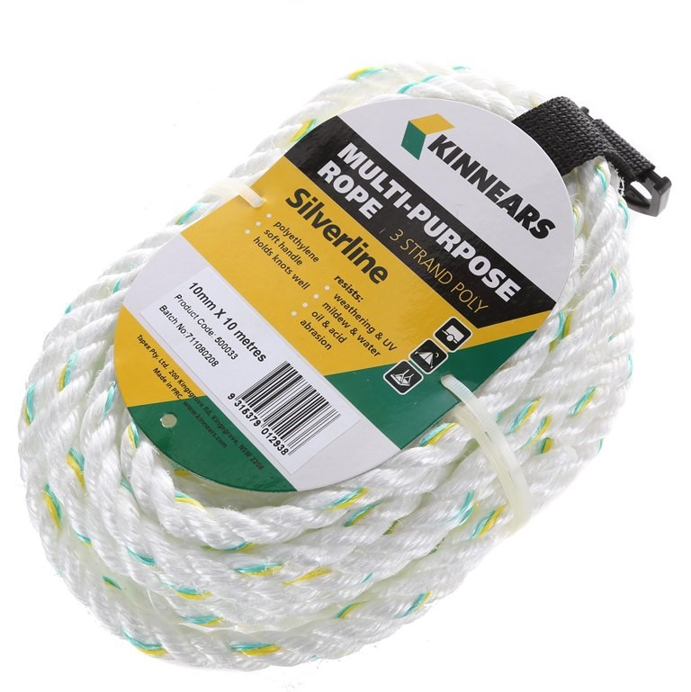 6 Hanks of KINNEARS 10mm x 10M Multi-Purpose Silverline 3-Strand Poly Rope