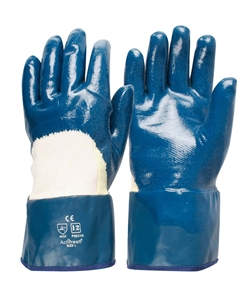 12 x Nitrile Coated Cotton Gloves, Size