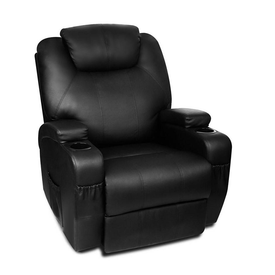 Artiss PU Leather Massage Armchair - Black