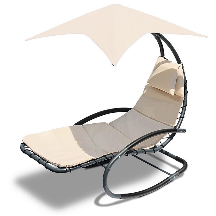 Buy Gardeon Outdoor Rocking Armchair with Shade - Black ...