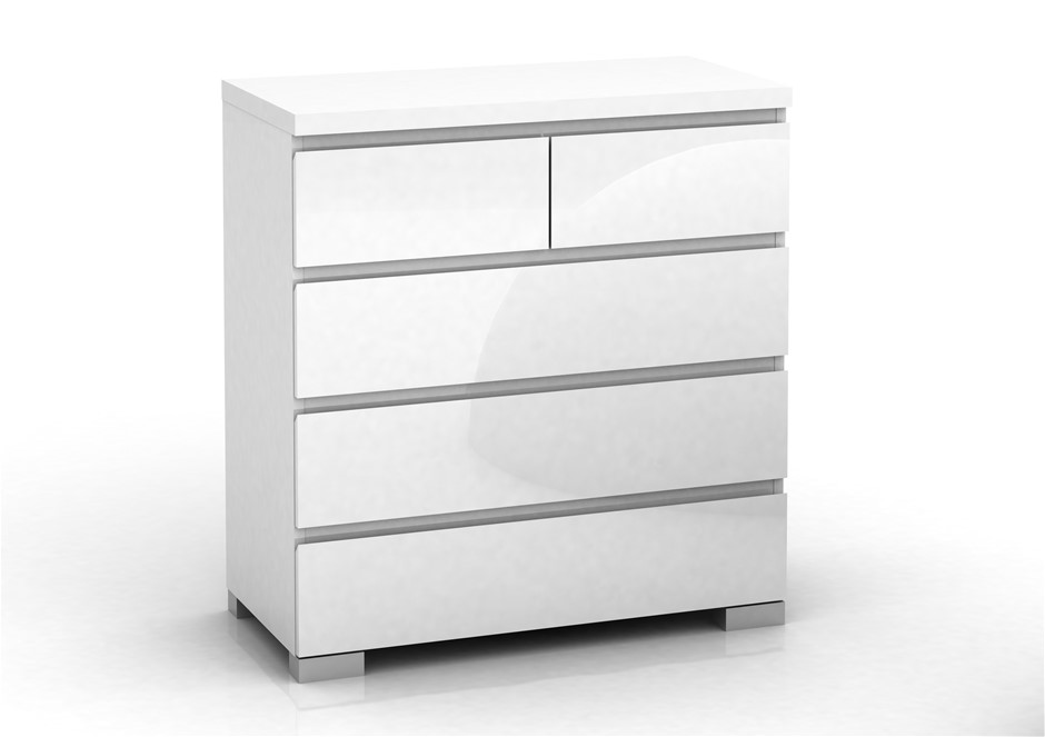Elara High Gloss 5 Drawer Chest - White