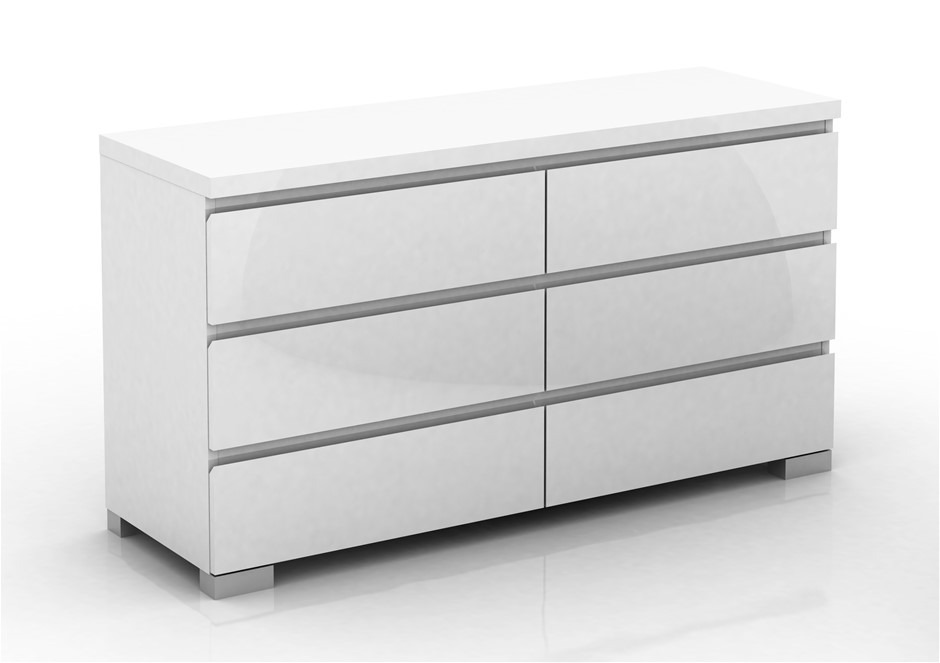 Elara High Gloss 5 Drawer Chest - White