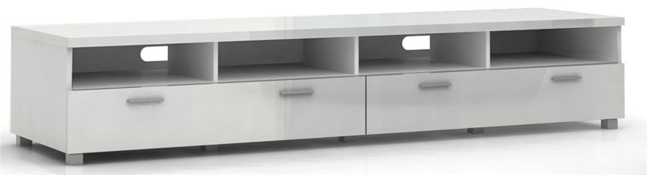 Elisha High Gloss Entertainment Unit 2m - White