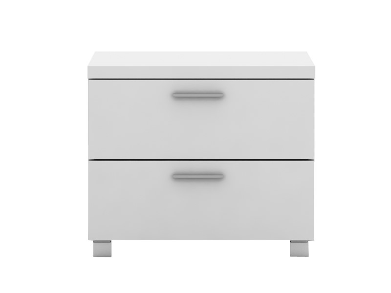 Elisha High Gloss 2 Drawer Side Table - White