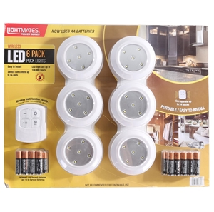 Lightmates power series wireless led 6pk puck lights with batteries lightmates power series wireless led 6pk puck lights with batteries aloadofball Gallery