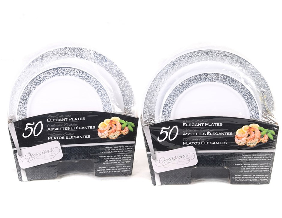 2 Sets of 50 x OCCASIONS Elegant Disposable Plates, Lace Collection. N.B. S