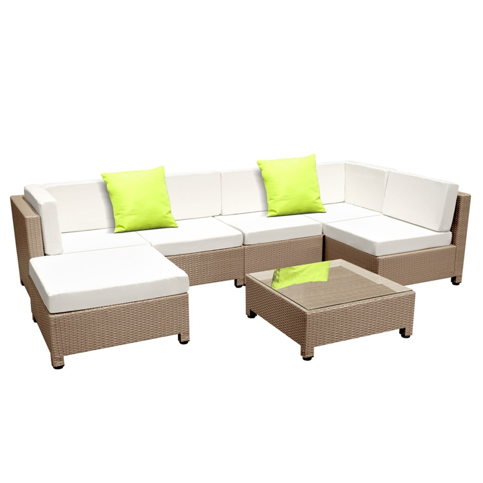 Gardeon 7 Piece PE Wicker Outdoor Furniture Set - Brown