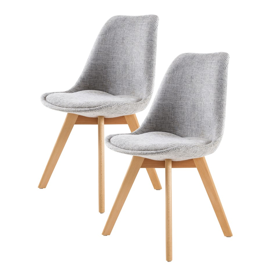 Replica Eames Fabric Padded Dining Chair - GREY X2