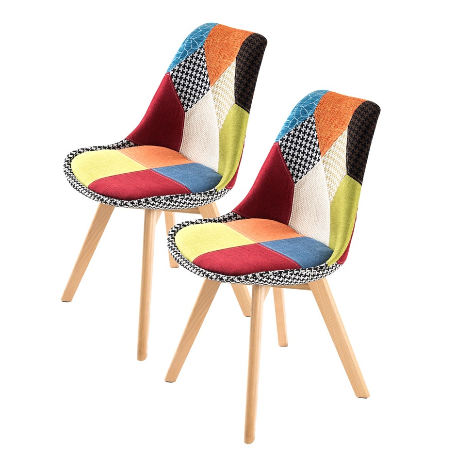 Replica Eames Fabric Padded Dining Chair - MULTI X2