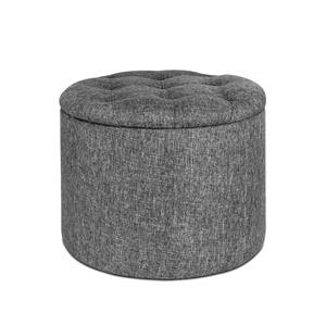Miraculous Artiss Fabric Round Storage Ottoman Grey Creativecarmelina Interior Chair Design Creativecarmelinacom