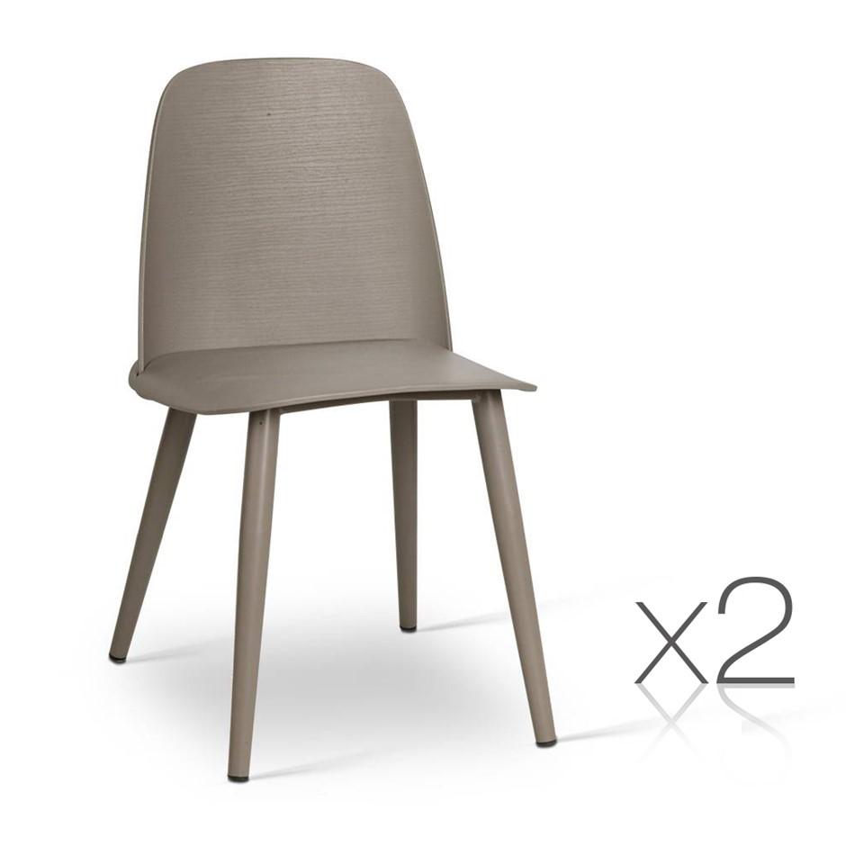 Artiss Set Of 2 Nerd Replica Dining Chair Grey