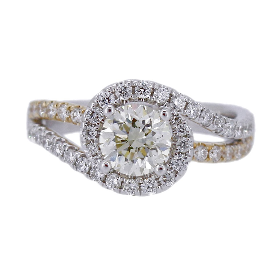 18ct Two Tone Gold 165ct Diamond Engagement Ring
