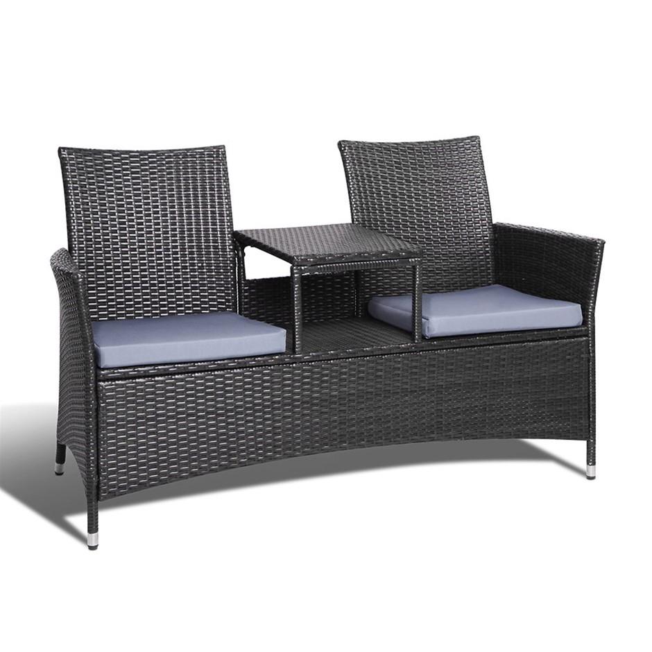 Gardeon 2 Seater Outdoor Wicker Bench - Black