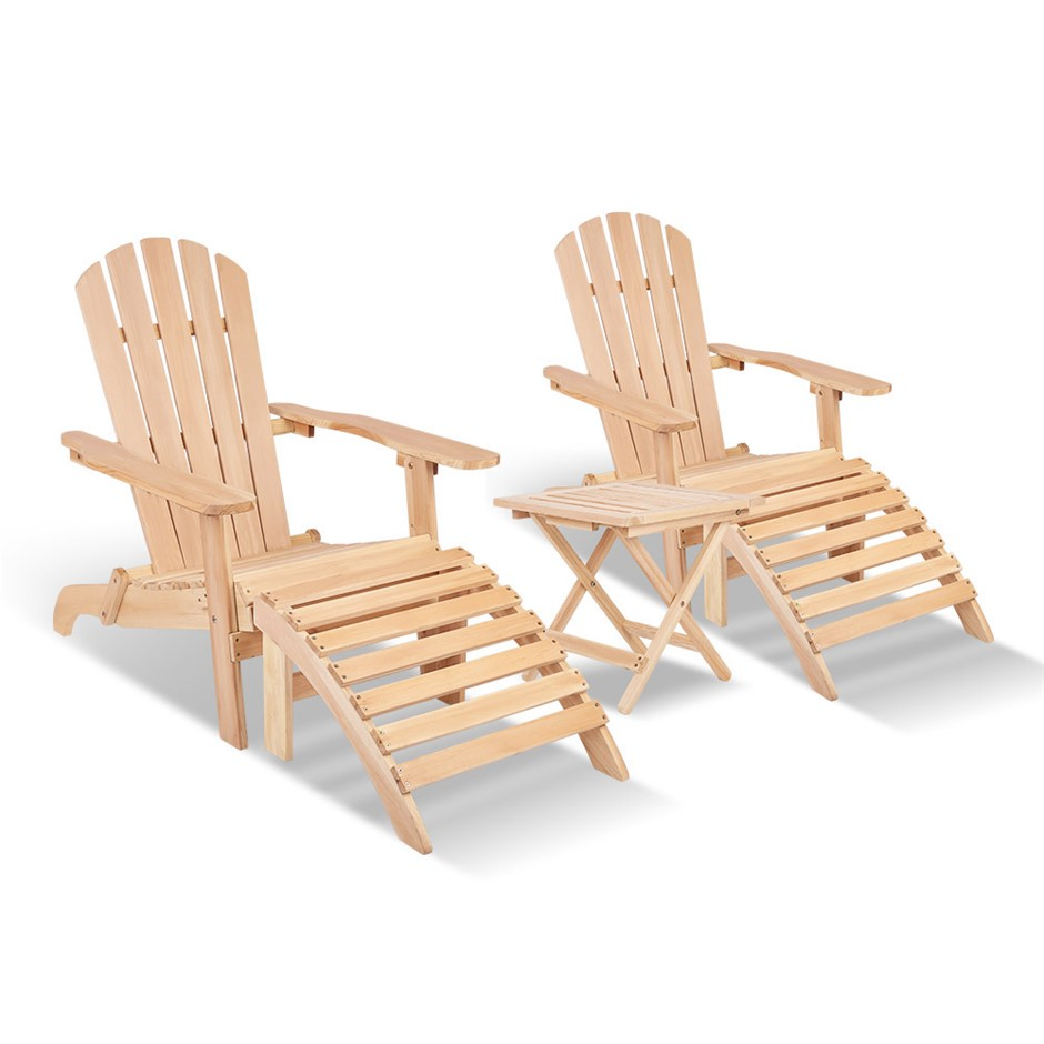 Gardeon 5 Piece Wooden Adirondack Table and Chair Set - Natural Wood