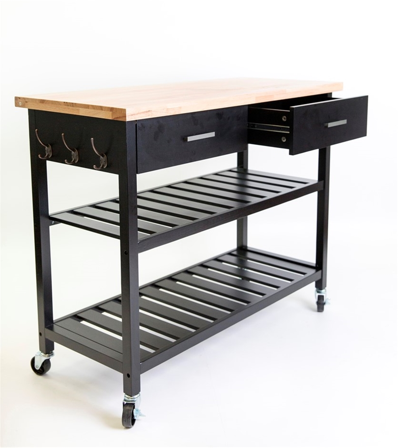 Buy Kitchen Island Trolley Top With Open Shelves Black