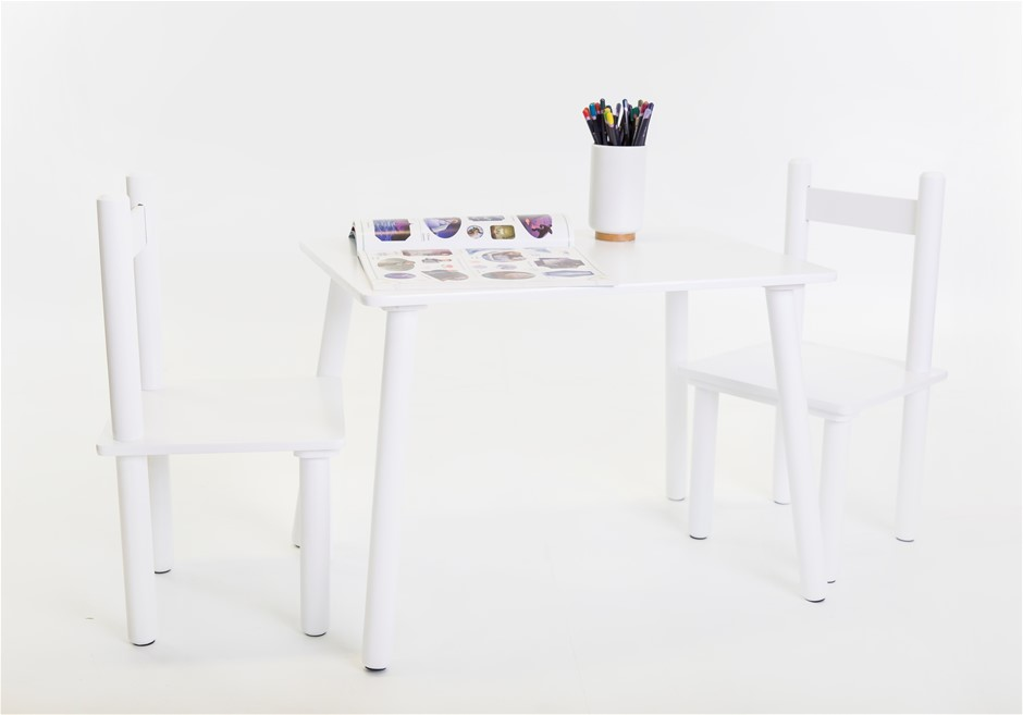 Kids Classic Table & Chairs Set - White