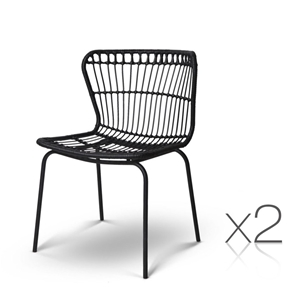 Artiss Set of 2 PE Wicker Dining Chair -