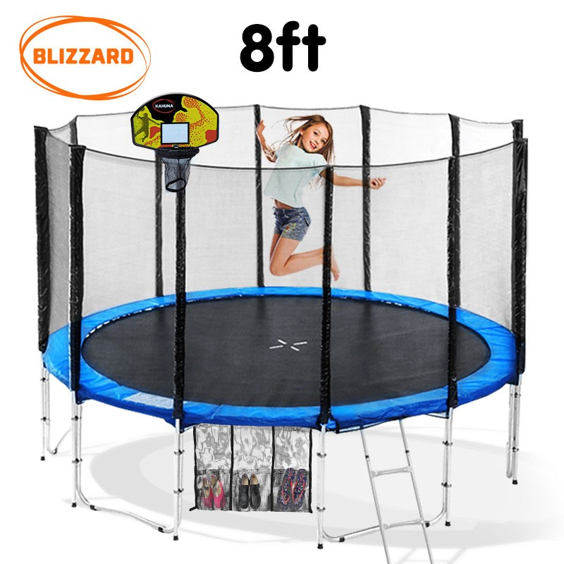 Blizzard 8 ft trampoline with net and basketball set - Blue