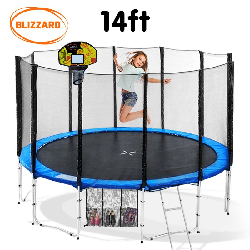 Blizzard 14 ft trampoline with net and basketball set - Blue