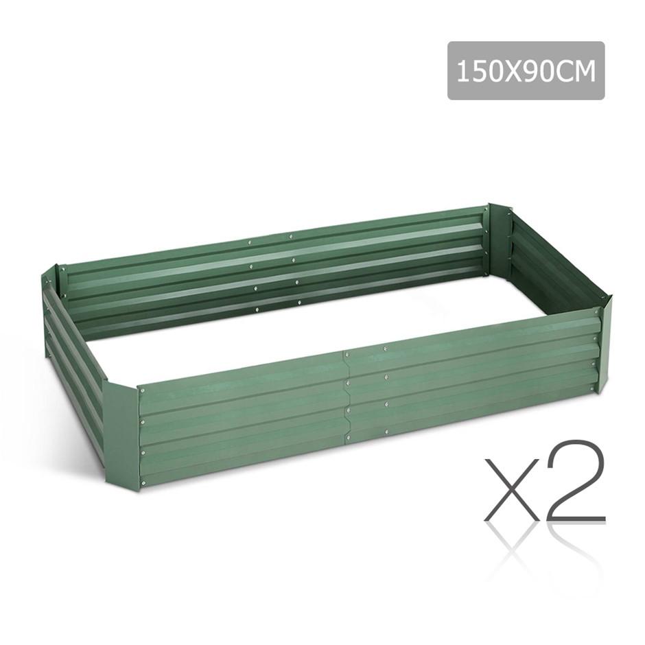Green Fingers Set of 2 Galvanised Steel Garden Bed - Green