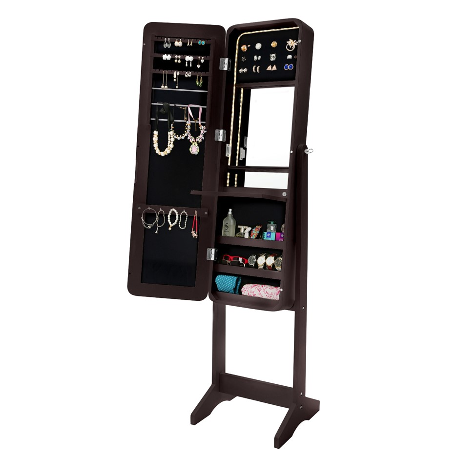 Mirror Jewellery Cabinet FLASHY - Walnut LED