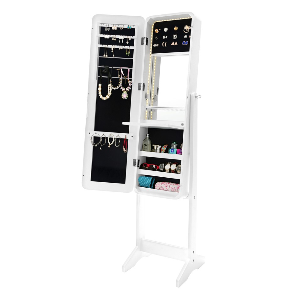 Mirror Jewellery Cabinet Flashy White Led