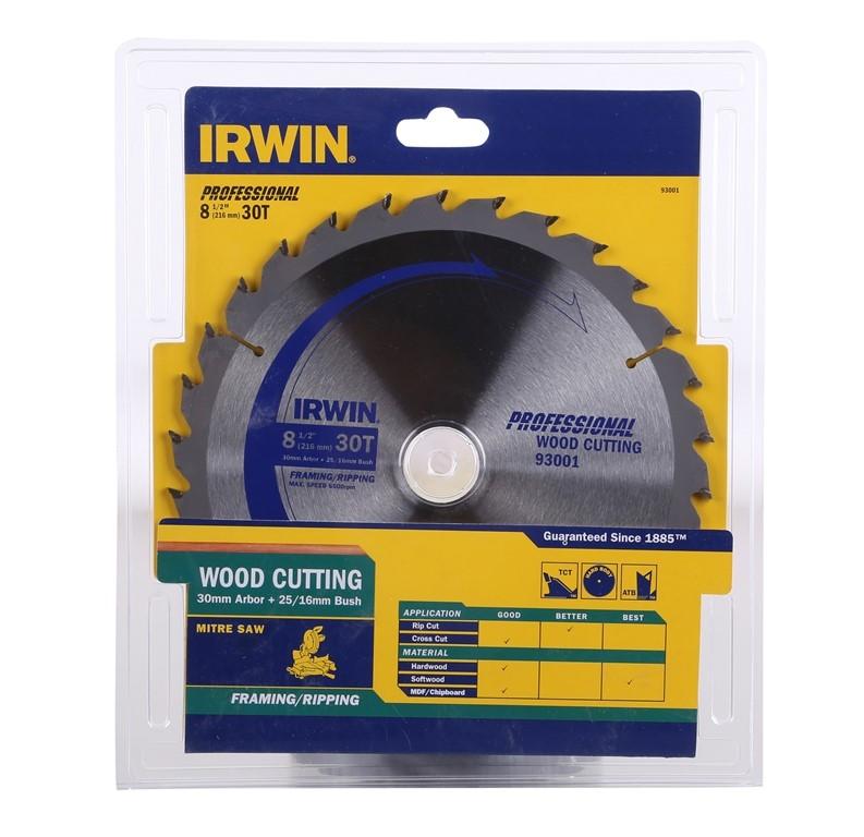 2 x IRWIN Wood Cutting Saw Blades 216mm x 30T with 30mm Arbour & 25/16mm Bu
