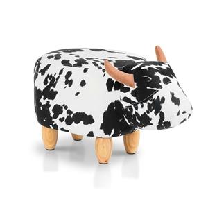 Artiss Kids Cow Animal Stool - Black & W